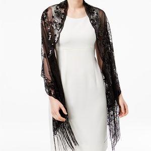 INC International Concepts Accessories - I.n.c. Floral Sequined Fringe Evening Wrap Black